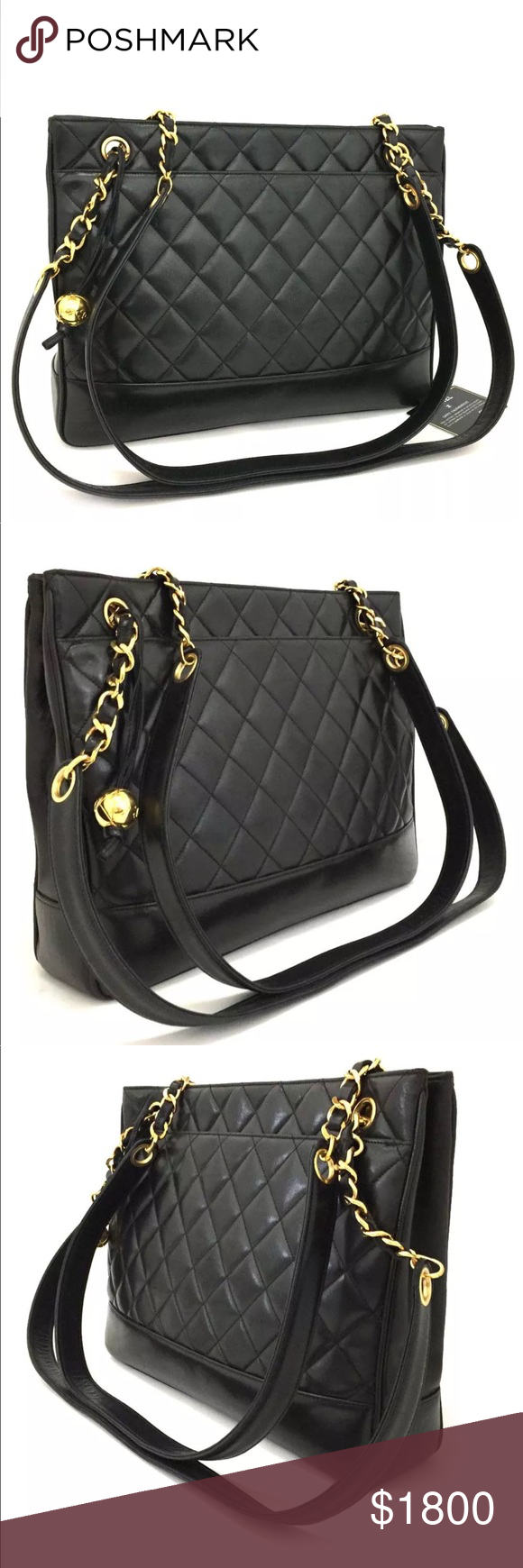 6001cc79796caa Authentic Chanel lambskin shoulder Tote Bag Chanel quilted matelasse  lambskin CC logo chain shoulder tote bag