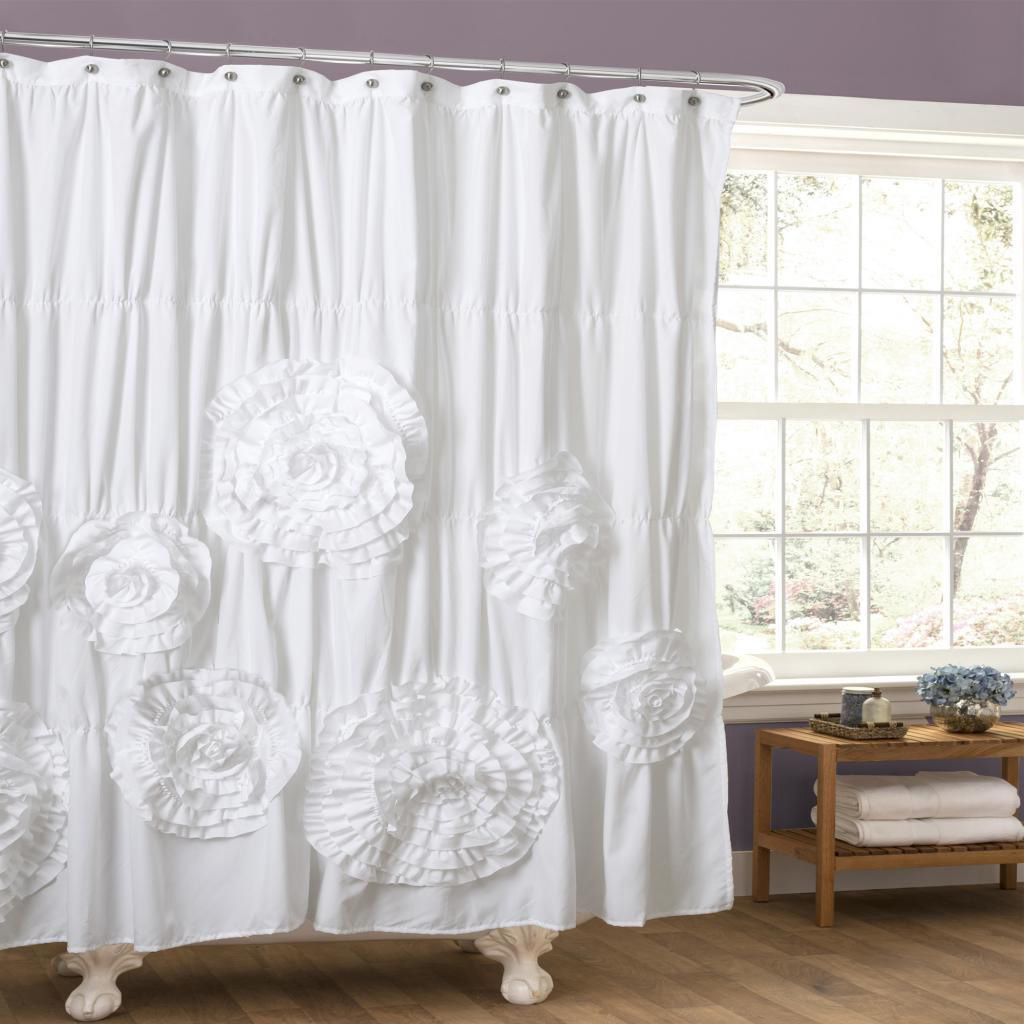 Bed bath and beyond window shades  oliver u james swanevelt ruffle trim shower curtain ivory   x