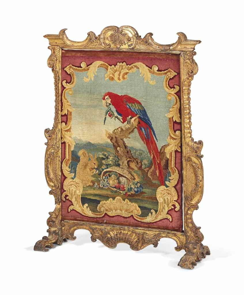 FIREPLACE FROM THE ENVIRONMENT OF THE EIGHTEENTH CENTURY  THE PROBABLY ENGLISH CARPET PANEL ATTRIBUTED TO THOMAS MOORE