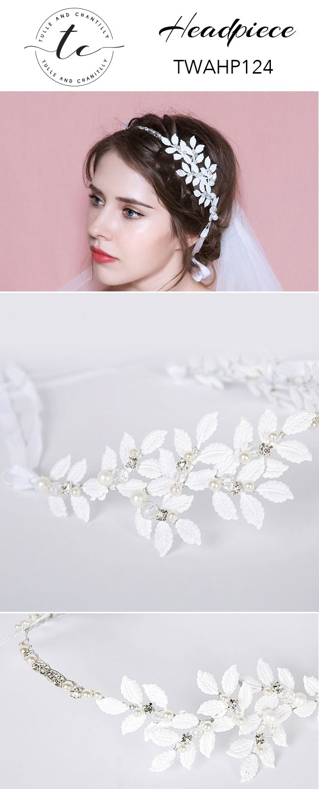 White Wedding Headband with Pearls Leaves TWAHP124 | Headpieces ...