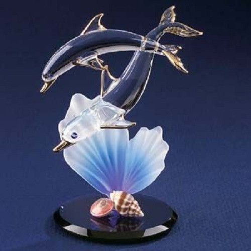 66c168d4bddfc Glass Baron Dolphin & Baby Figurine with Seashells | Glass art ...