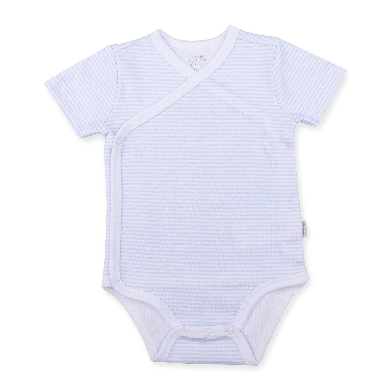 3b0c32b08ad %100 Organic Baby Boy Bodysuit with Blue Stripes Side Detail --  Bio-