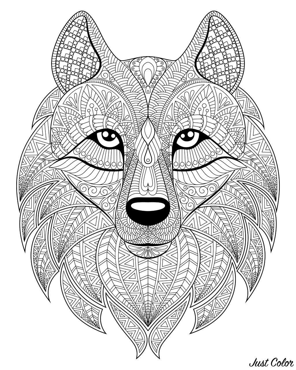 Wolf Head With Complex Patterns Kleurplaten Kleurplaten Voor Volwassenen Kleuren