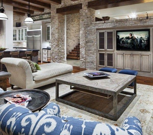 schicke-Wohnzimmer-einrichten-braun-sofas-fernseher Interieur