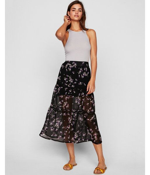 cddd62171ac9 Floral Print Tiered Midi Skirt Black Women's XX Small | Products ...