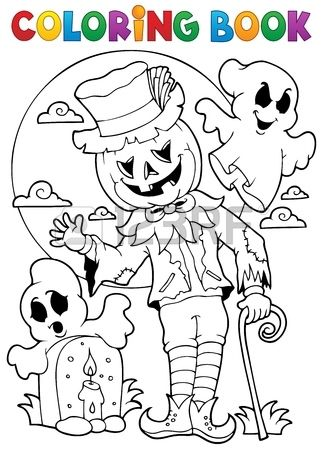 Coloring Book Halloween Character 9 Eps10 Vector Illustration Halloween Coloring Book Free Halloween Coloring Pages Halloween Coloring Pages