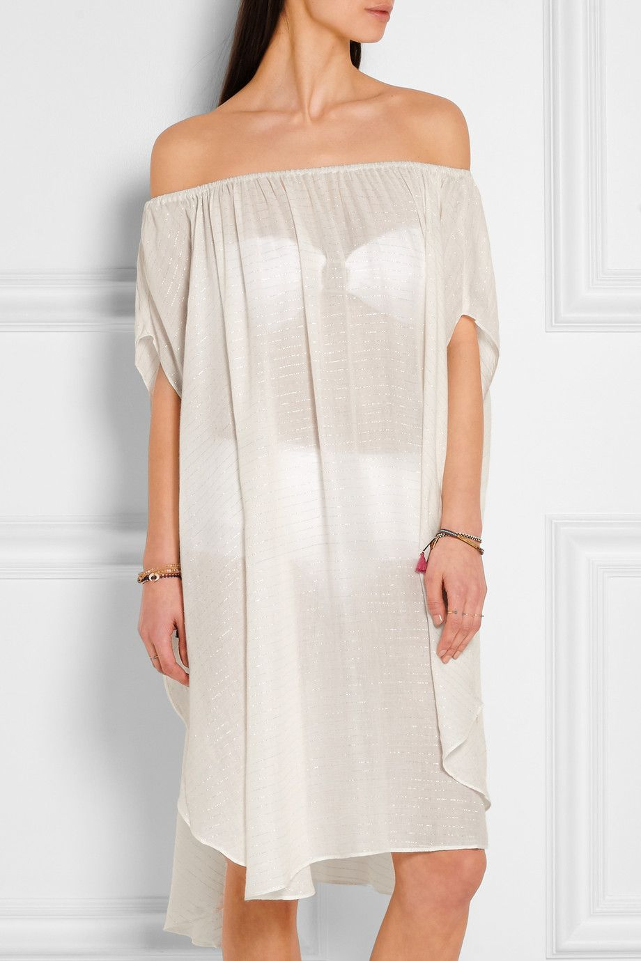 Off-white and silver voile Slips on 100% rayon Hand wash Designer color: Metallic Gauze