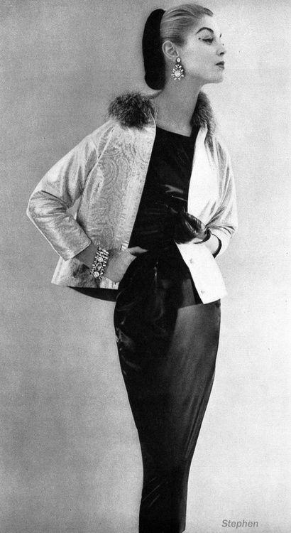 1950s Jean Patchett in Brocade Evening Jacket and Black Sheath