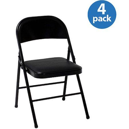 Mainstays Vinyl Folding Chair In Black Color Folding