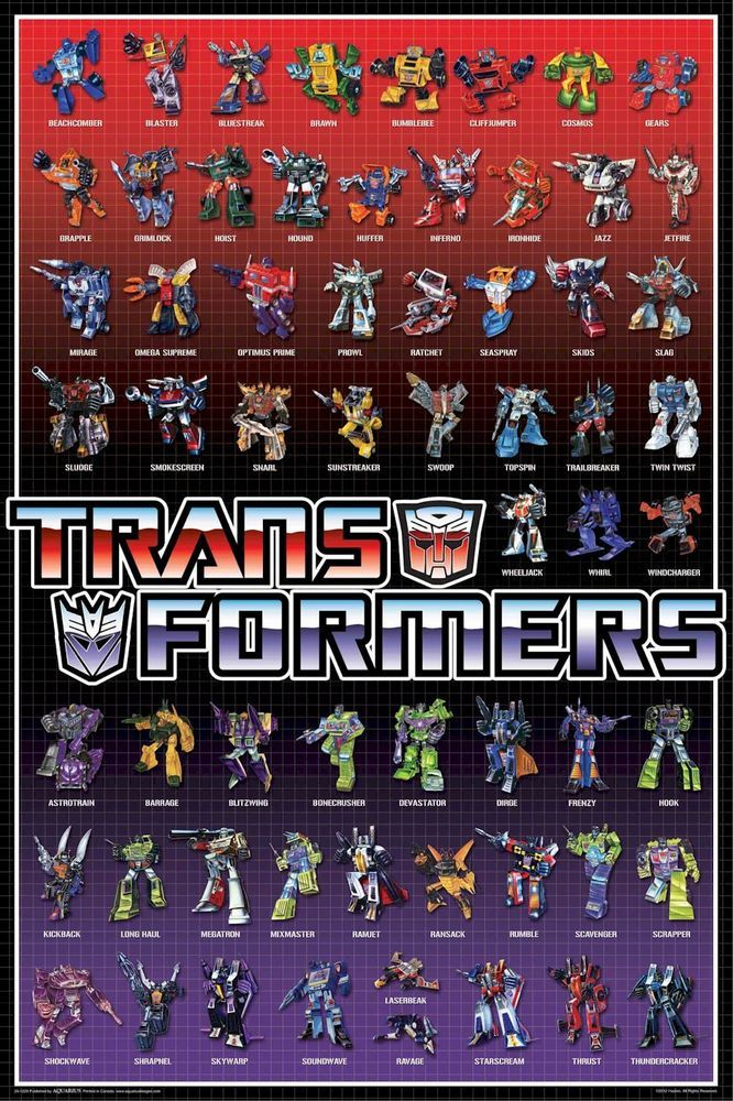 TRANSFORMERS ANIMATED POSTER ~ 62 CHARACTERS 24x36 Cartoon ...