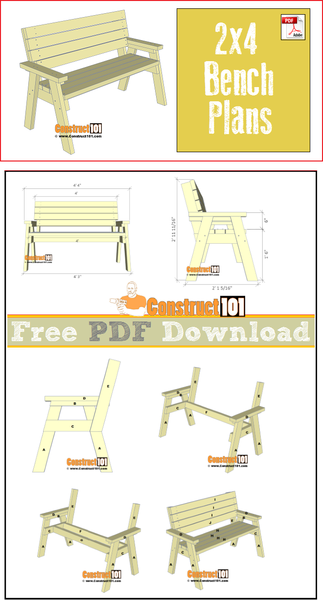2x4 Bench Plans Pdf Download In 2019 Construct101 Pdf Plans