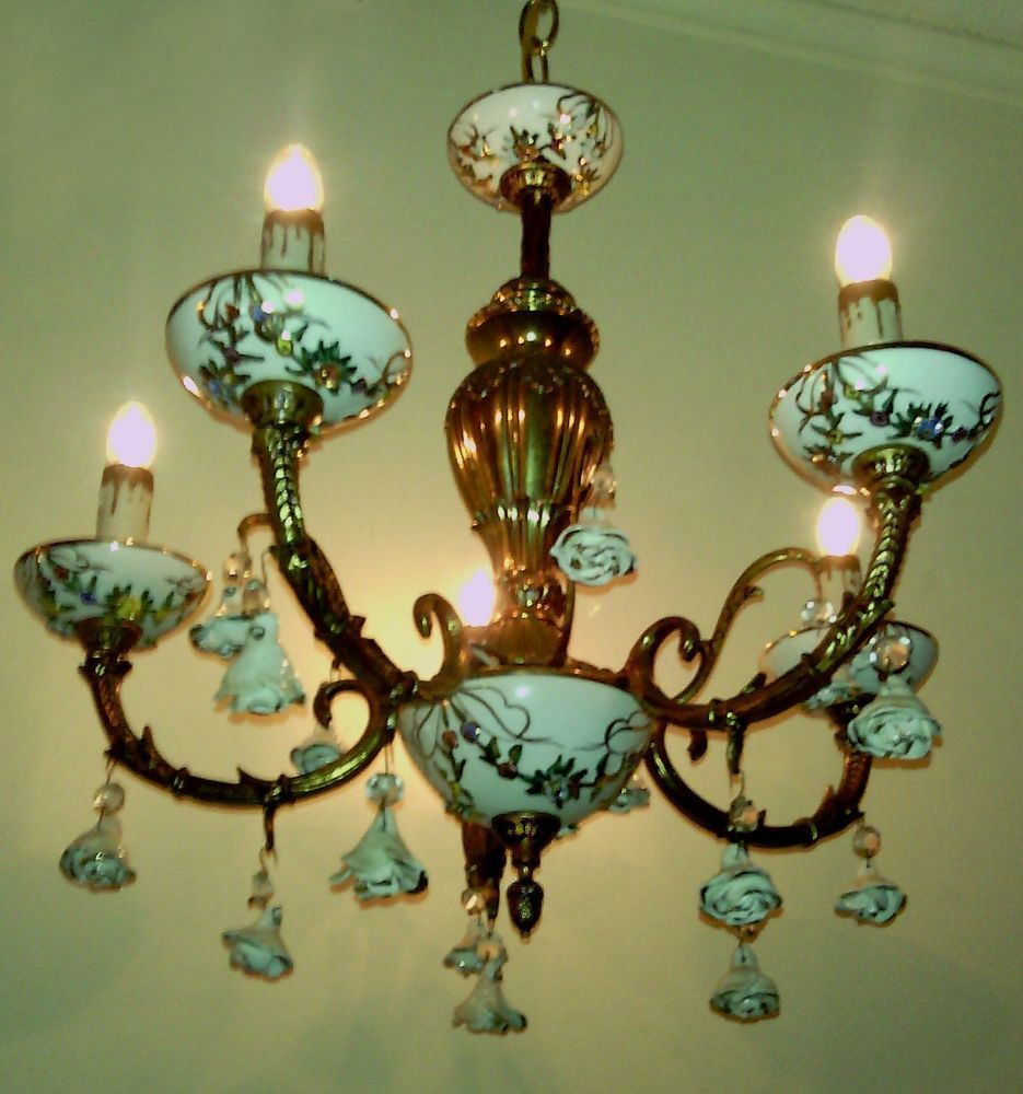 Vintage Capodimonte Italy Porcelain Brass Chandelier 5 Light W Roses Crystals I Just
