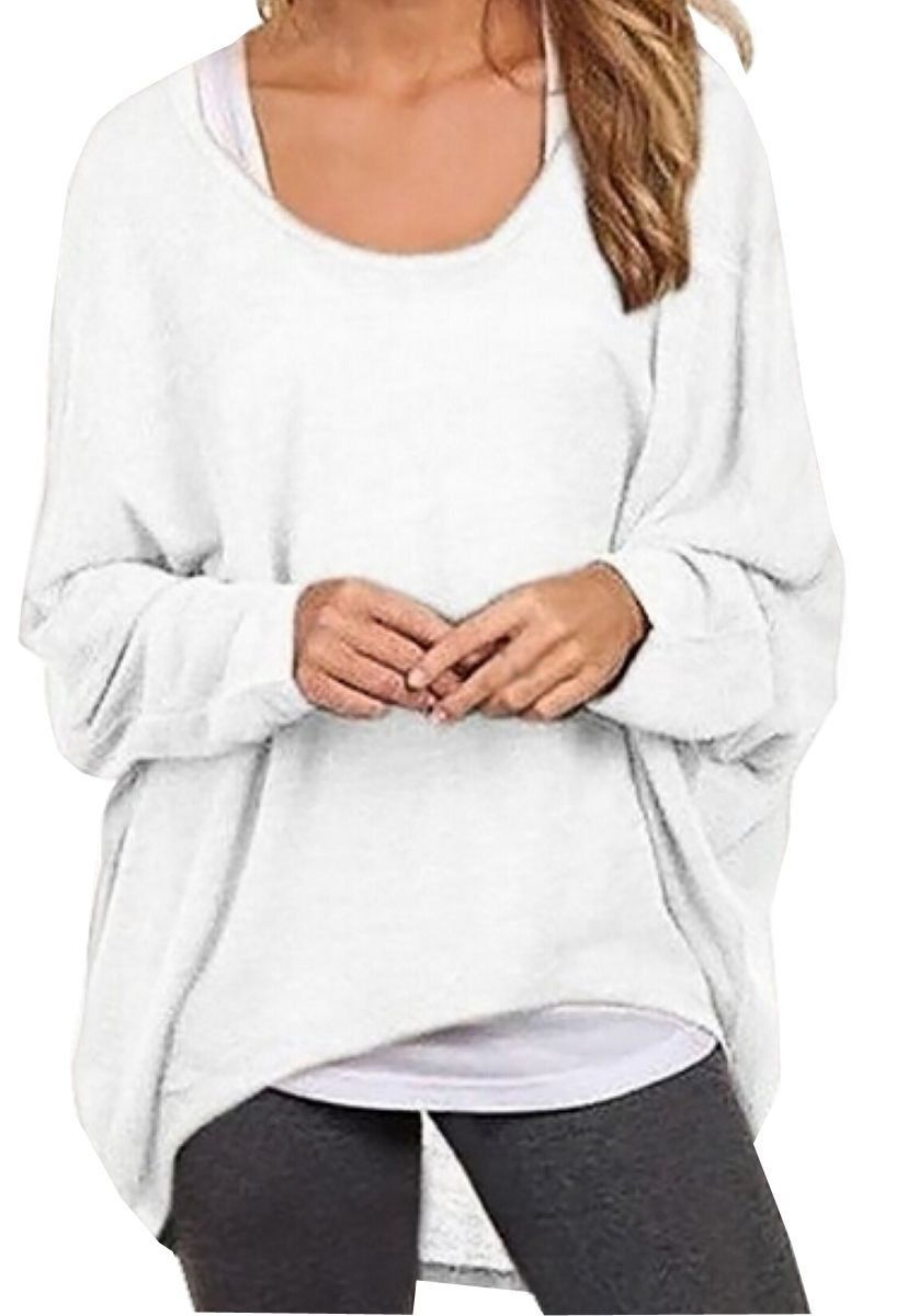 d71ee4cae UGET Women s Sweater Casual Oversized Baggy Off-Shoulder Shirts Batwing  Sleeve Pullover Shirts Tops Asia S Black at Amazon Women s Clothing store