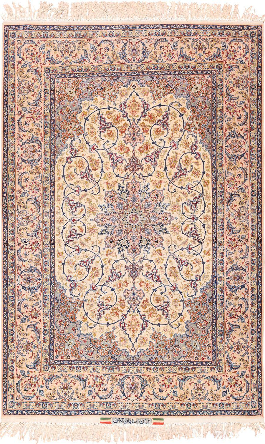 Ivory Background Vintage Persian Isfahan Rug 49599 By Nazmiyal Vintage Persian Rug Persian Rug Designs Traditional Persian Rugs