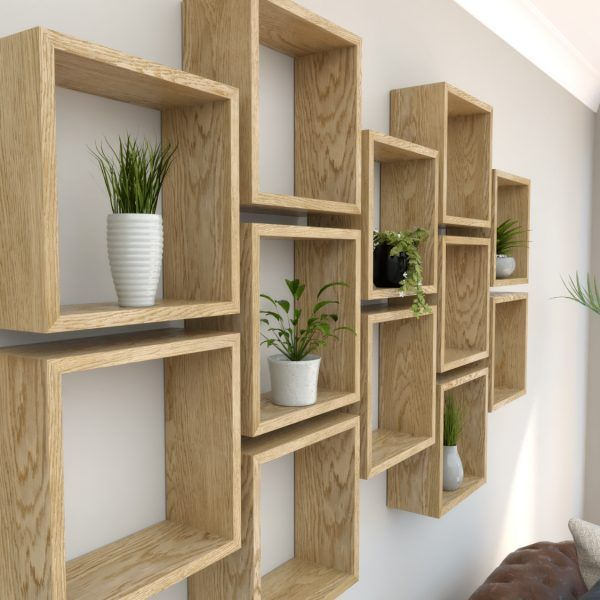 Square Shelves Oiled Oak Wall Boxes Geometric Shelves Cube