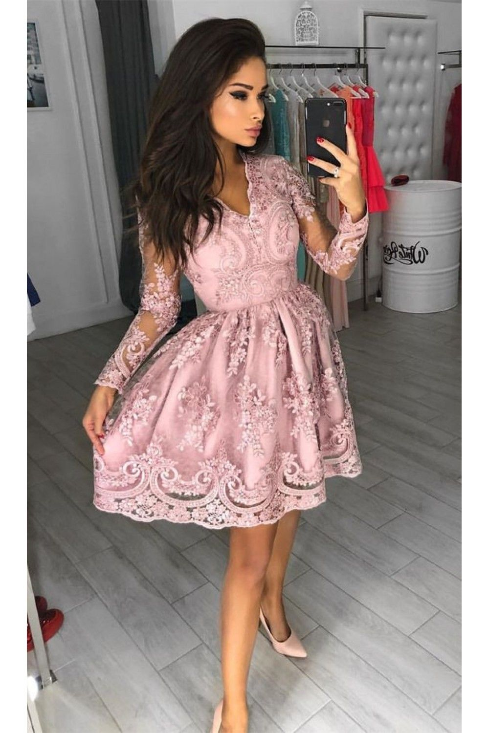 Short Prom Dress Long Sleeves Homecoming Dresses Graduation Party Dresses 701017 Prom Dresses For Teens Pink Homecoming Dress Prom Dresses Long With Sleeves [ 1500 x 1000 Pixel ]
