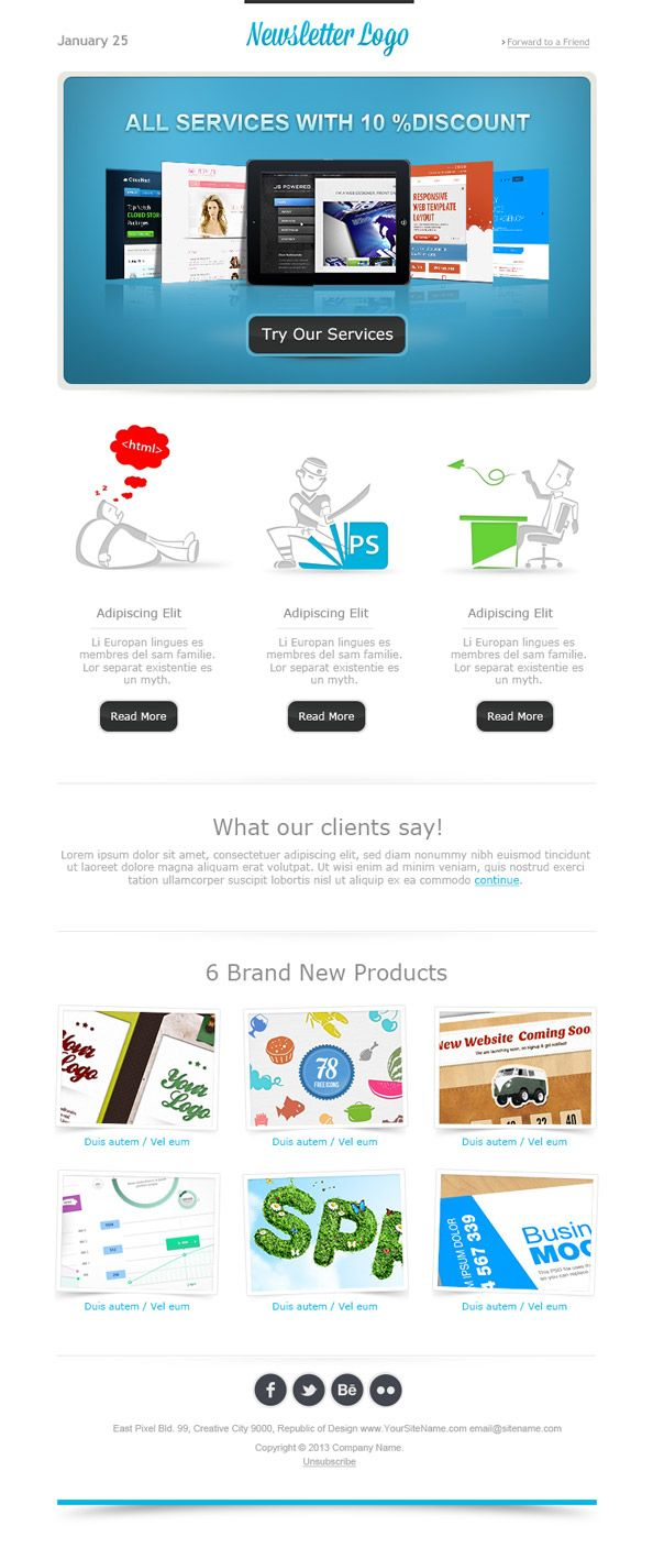 simple email template made in minimal style email newsletter free - Free Email Newsletter Templates
