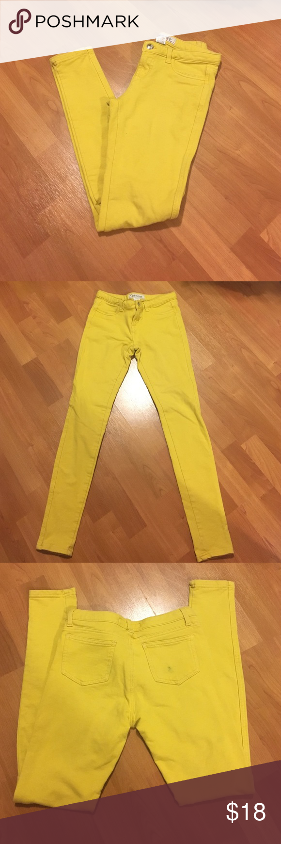 Mustard yellow pant leggings Thick material- not see through like those other cheap leggings. Usable back pockets. Right back pocket has small stain- price adjusted to account for it. Size medium. Open to offers. Bundle and save Jeans Skinny