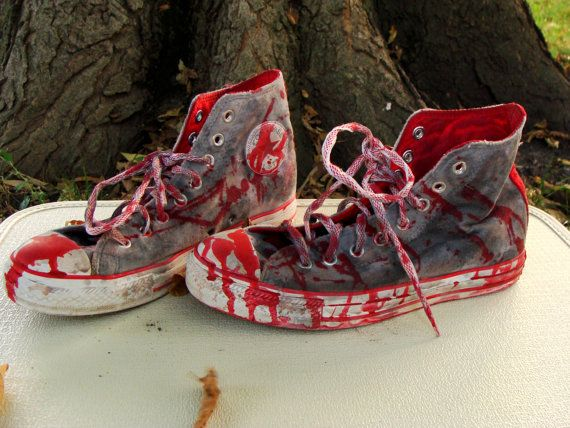 3fbf138c9e8a Custom Made Bloody Gray  ZOMBIE SHOES Chucks Converse All Stars Hi Tops US  mens 7 womens 9 by wardrobetheglobe on  etsy
