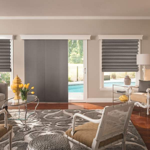 Bali sliding panels roman shade fabrics bali sliding for Modern blinds for windows