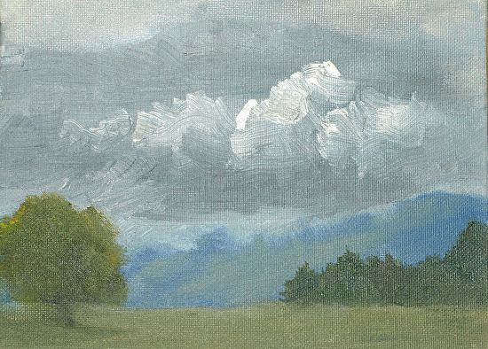 stormy weather, Plein Air by penny rhodes Oil ~ 6 x 8