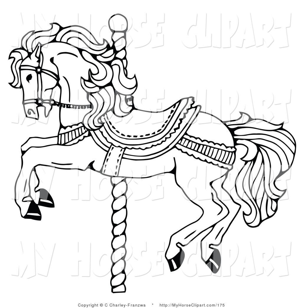 Clip Art Of A Carousel Horse On Spiraling Pole White By C