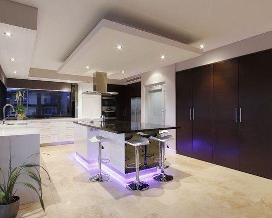 Luxurious Modern Theme for House Design Idea : Glamorous Kitchen Design LED Ground Lamp Ideas Coogee Residence
