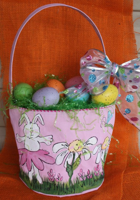 Easter basket hand painted canvas bucket style by twizzlestitches easter basket hand painted pink bunny by tadpoleandlillies on etsy negle Choice Image