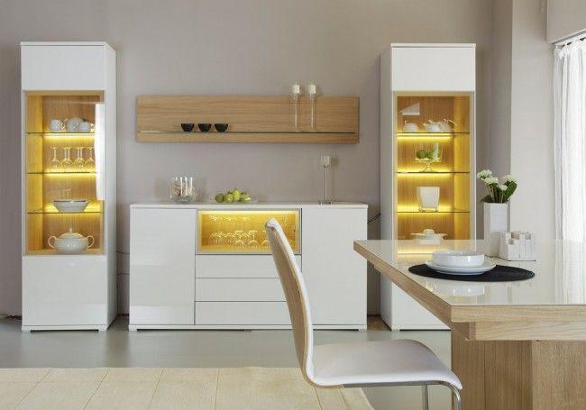 Bianco Display Cabinet In High Gloss White Tall Crockery Cabinet Design Crockery Unit Design Kitchen Furniture Design