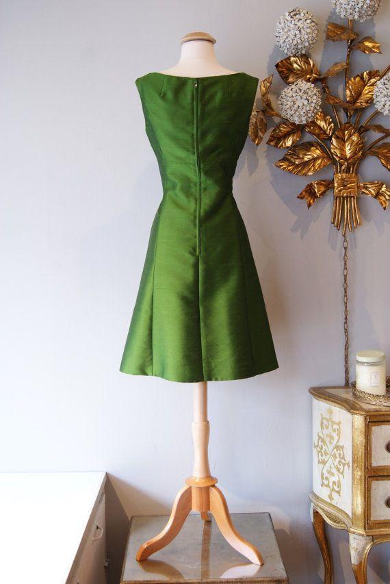 competitive price 83f60 de1a0 1960s Dress // Vintage 60s Dress // Vintage Green Silk Shift ...