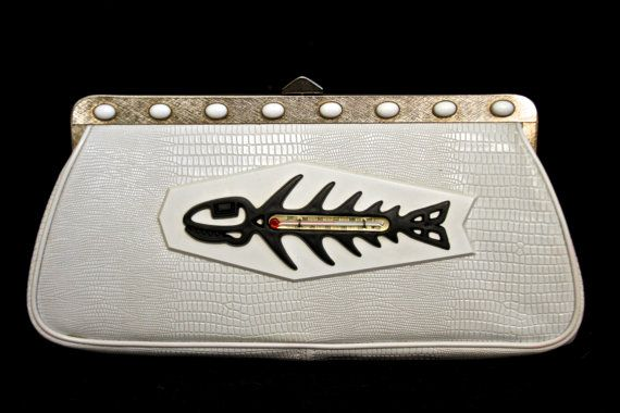 $58.99, Upcycled Vintage Clutch, Mid-Century, Off White Crocodile, Embossed with Fish Skeleton Thermometer, by (undercover) POPULAR; www.undercoverpopular.com