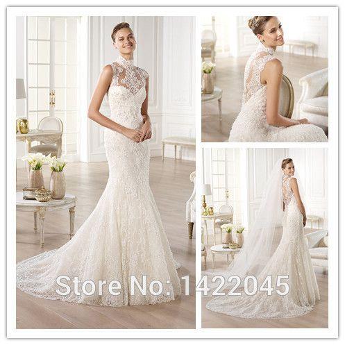 Elegant-High-Neck-See-Through-Lace-Corset-Wedding-Dresses-Mermaid-vestidos-de-noiva-Bridal-Gowns-With