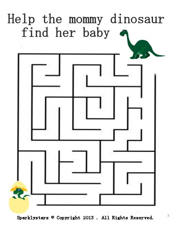 Dinosaur Maze Easy Age 3 5 Fun Worksheets For Kids Mazes For
