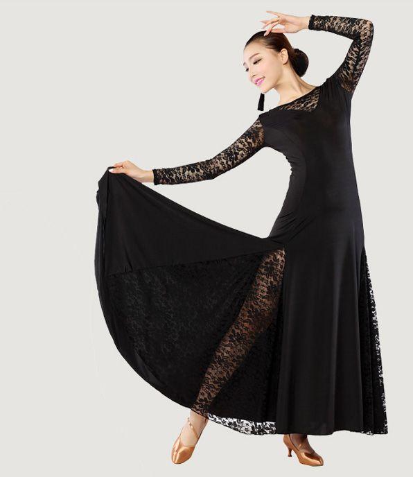64defd9f9 Ladies Latin Rumba Tango Cha-cha Dance Costume Round Neck Lace Collar Sleeves  Long Dress Dancewear