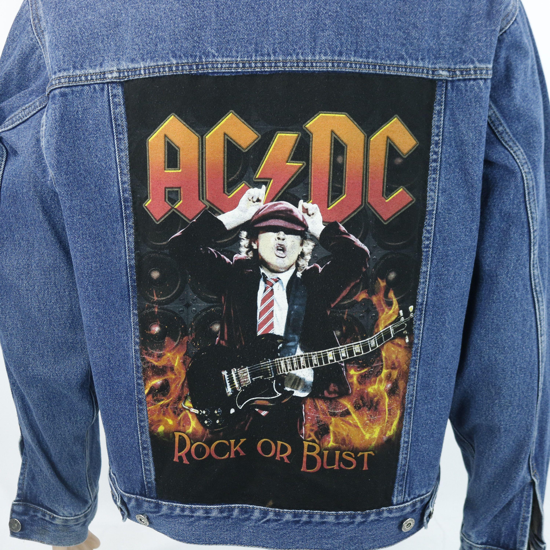 Ac Dc Wrangler Denim Jean Jacket Rock Or Bust Tour Blue Trucker Large Denim Jean Jacket Jackets Jean Jacket [ 3000 x 3000 Pixel ]