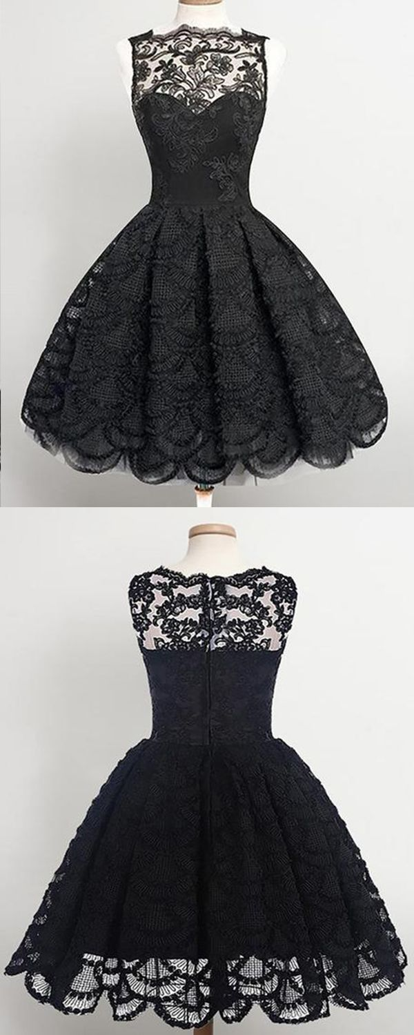 Vintage scallopededge short black lace prom homecoming dress with