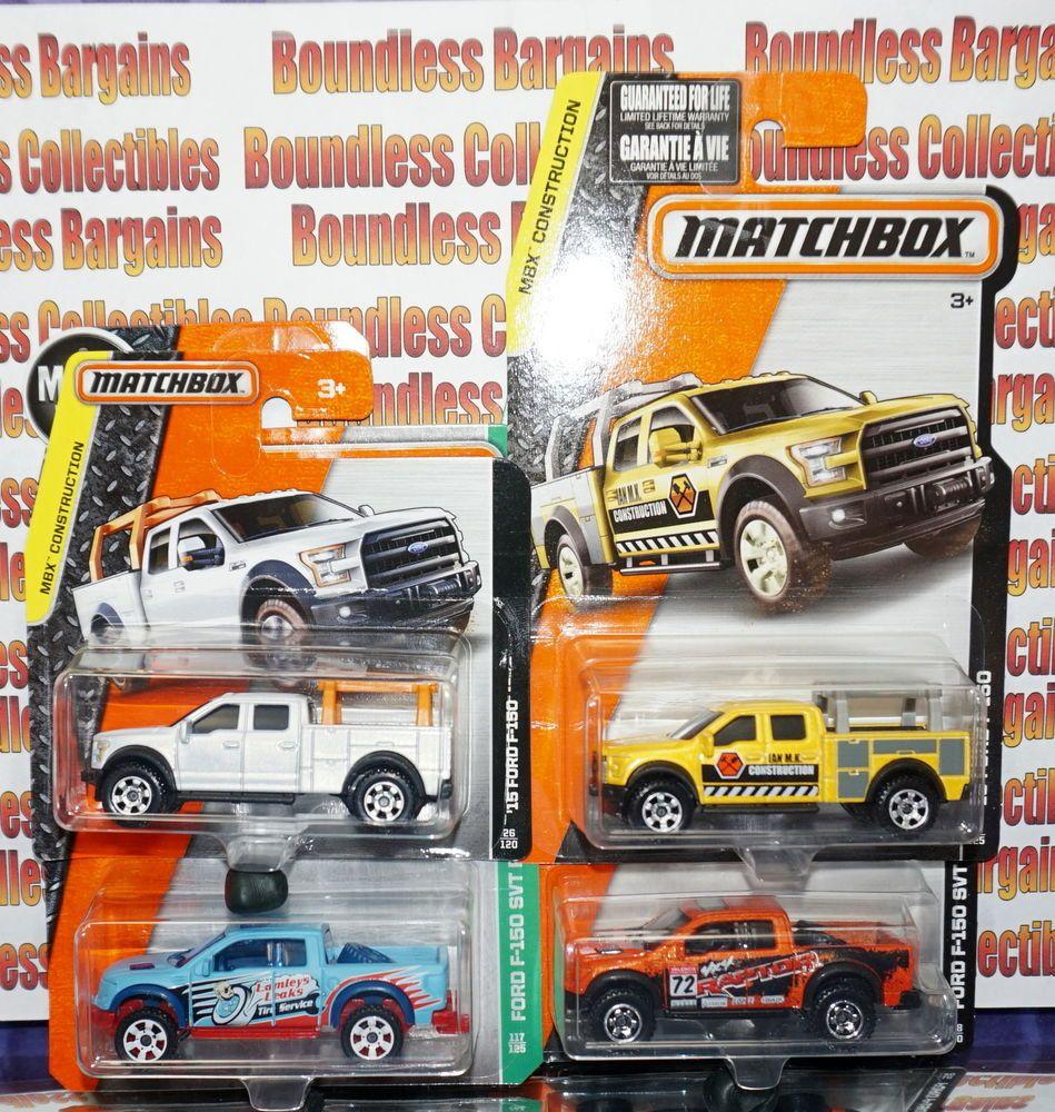 Matchbox Lot Of 4 Ford F150 Collection Svt Raptor Explorers Construction Truck Matchbox Ford Matchbox Diecast Pickup Trucks