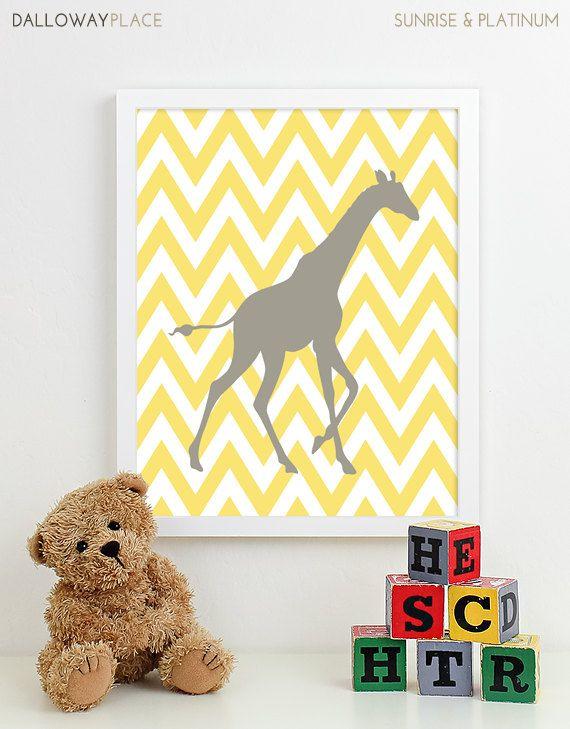 Nursery Art Print Chevron Giraffe Jungle Safari Animals Baby Boy ...