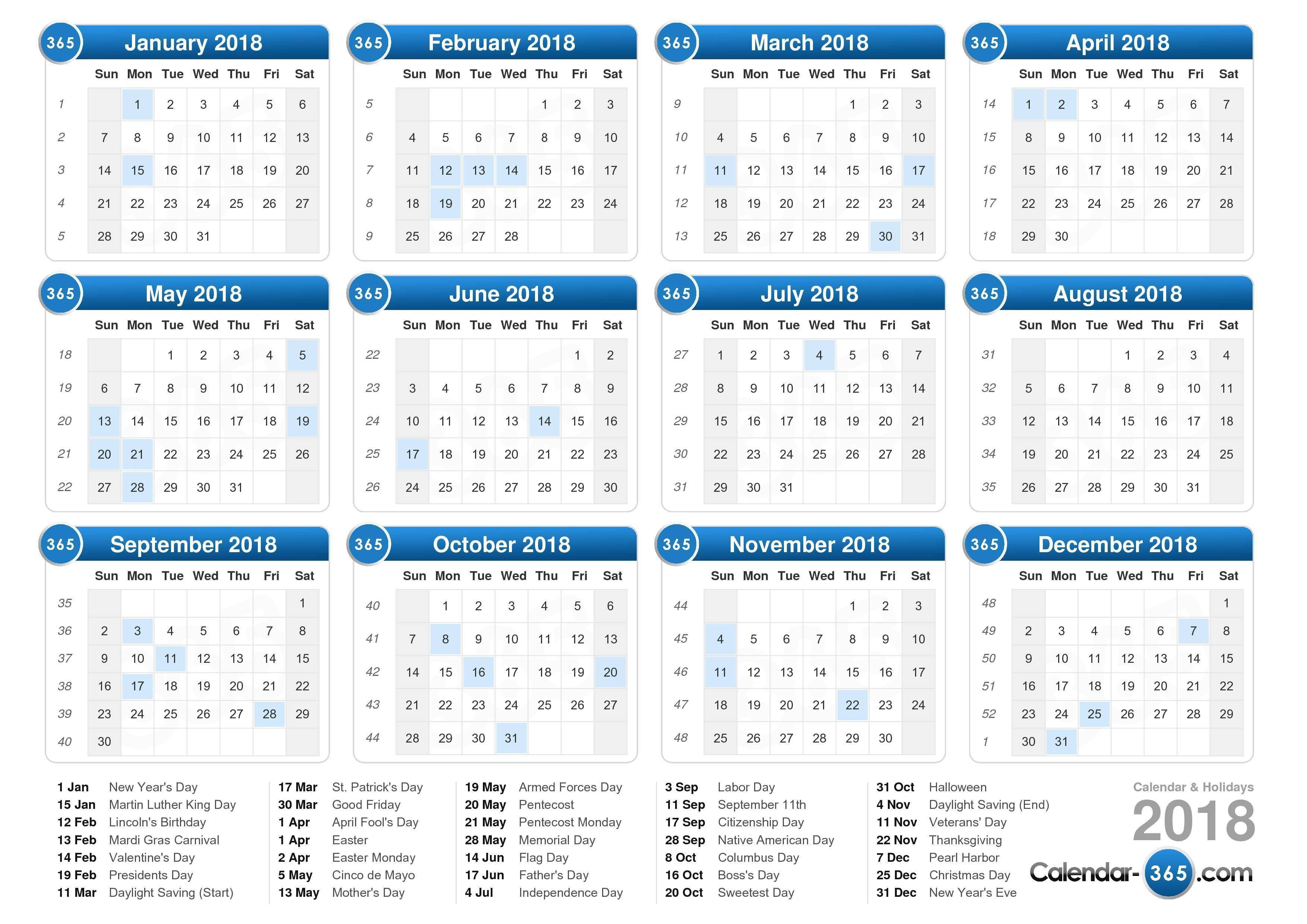 2018 Calendar Kalender 2018 Kalender Druckvorlagen Kalender