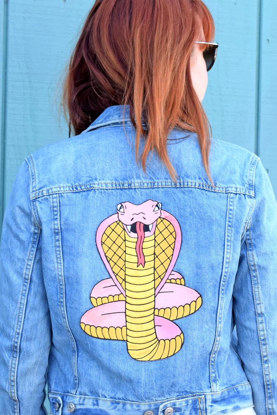 Cobra Back Patch Valley Cruise Press Diy Denim Jacket Denim Design Painted Denim Jacket [ 1361 x 910 Pixel ]