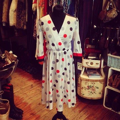 Flirty Forties Style Wrap Dress 80s Uk Size 10 24 Vintage Dress 40s 80s Retro Summer Flo Vintage Dress 40s Summer Fashion Dresses Wrap Over Dress