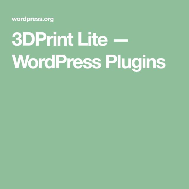 3DPrint Lite — WordPress Plugins | Design and Photography