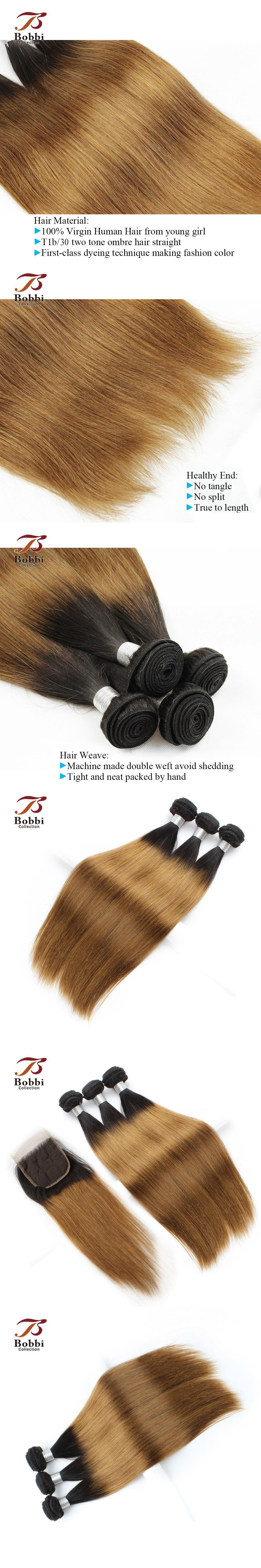 Straight Human Hair Extensions Ombre Indian Hair Weave 3 Bundles