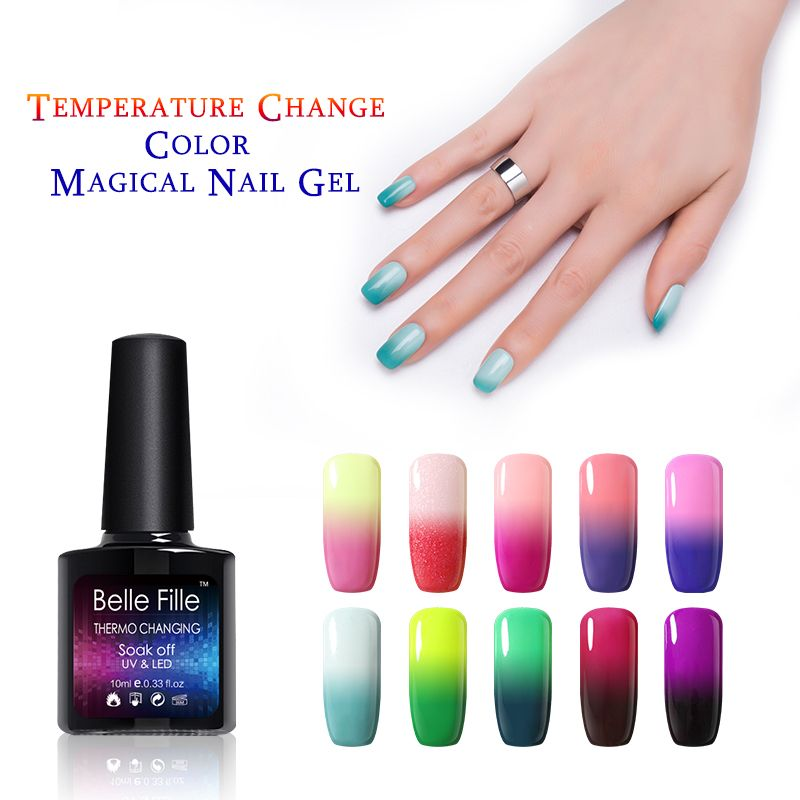 Belle Fille UV Gel Temperature Changing Professional Nail Gel Soak ...