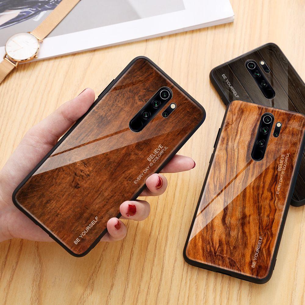 Wood Grain Phone Case For Xiaomi Redmi Note 8 Pro Tempered Glass Hard Cover For Xiaomi Mi 9t 9 T Pro Redmi Wood Phone Case Phone Cases Xiaomi