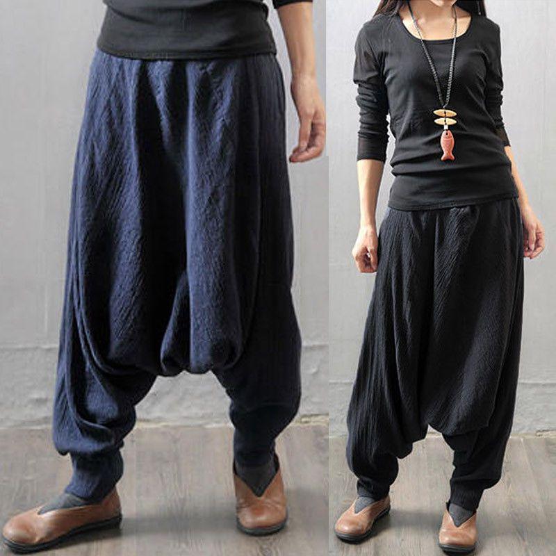 Women Cotton Pants Loose Casual Harem Pants Plus Size Vintage Linen Trousers  X
