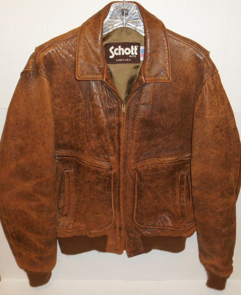 ce6c1021b7c Vintage Schott N.Y.C. Distressed Brown Leather Bomber Flight Jacket Size 40  USA  Schott  BomberFlight