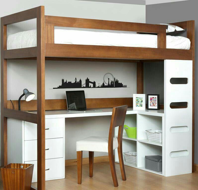 Ideas de camas puentes loft para espacios reducidos - Escritorios para espacios reducidos ...