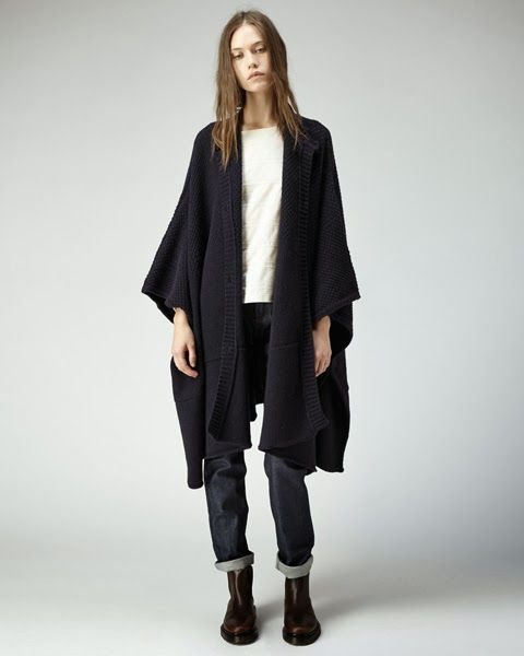 A.P.C. Oversized Knit Cape / Dos Zip T-Shirt / New Cure Raw Jeans / Forest Boots
