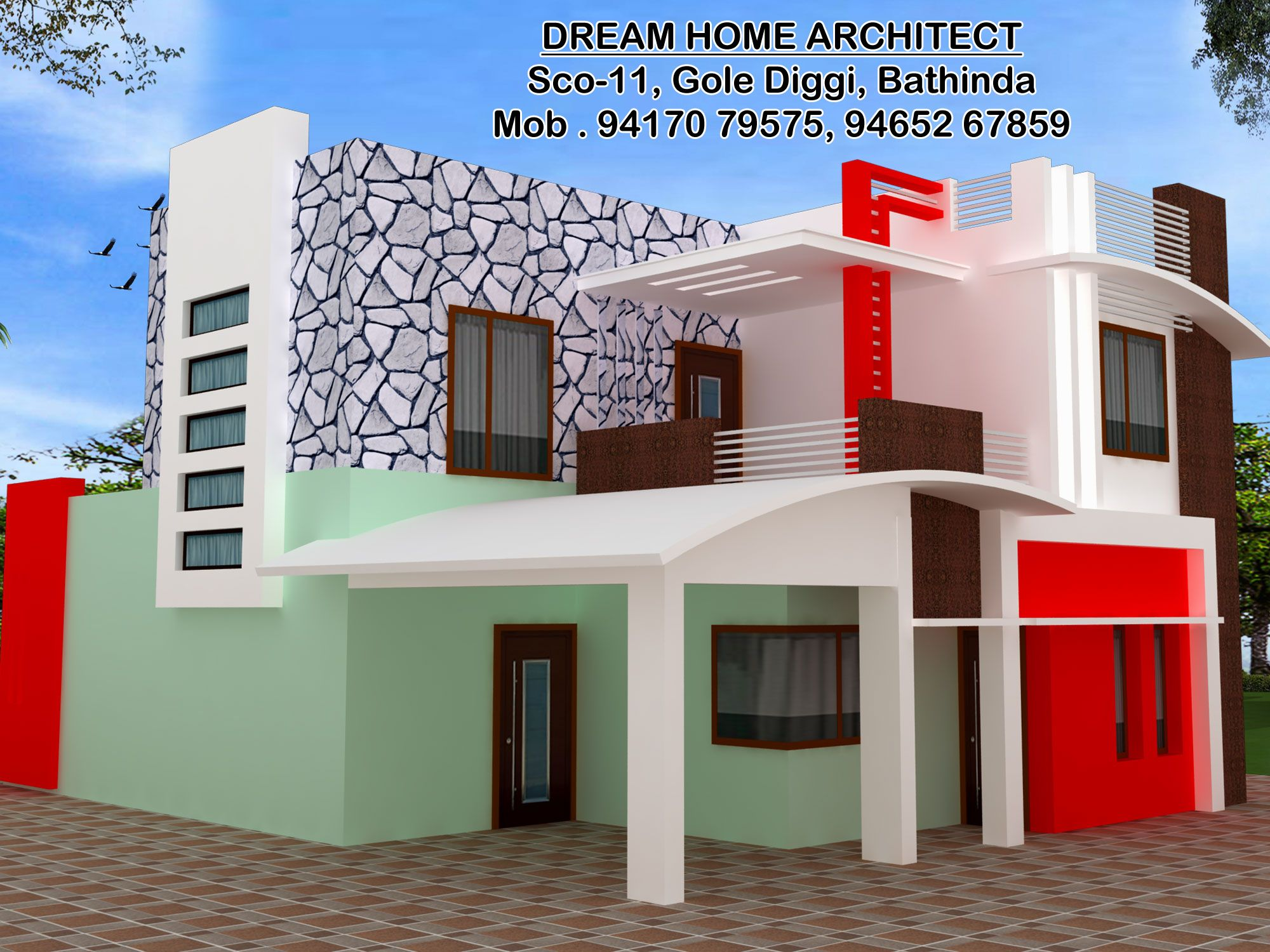 Attractive Front Design Of House In Haryana Part - 12: Front Elevation For Kalanwali Mandi Haryana · Front Elevation Designs
